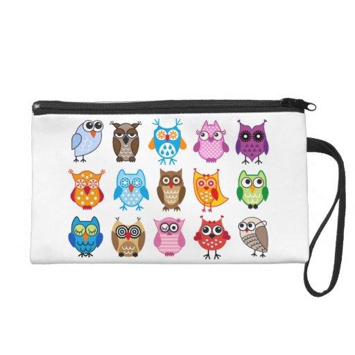 Colorful cute owls wristlet clutch