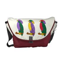 Colorful Cute Parrots Medium Courier Bags at Zazzle