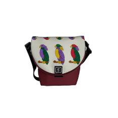 Colorful Cute Parrots Mini Messenger Bag at Zazzle