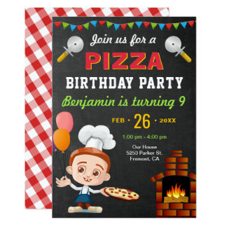Colorful Cute Pizza Kids Birthday Party Invitation