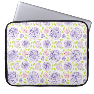 Colorful cute purple pink green floral pattern laptop computer sleeves
