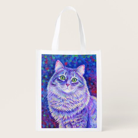Colorful Cute Purple Tabby Cat Grocery Bag