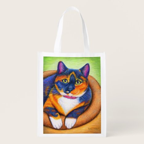 Colorful Cute Rainbow Calico Cat Grocery Bag