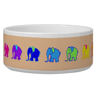 Colorful Cute Rainbow Cartoon Elephants Parade Bowl