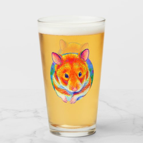 Colorful Cute Rainbow Hamster Drinking Glass Cup
