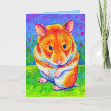 Colorful Cute Rainbow Hamster Greeting Card