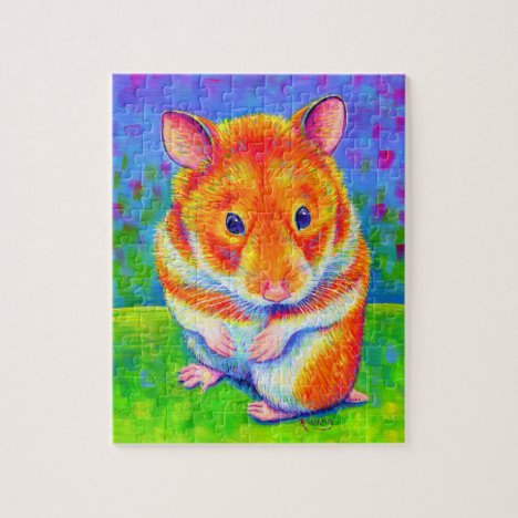 Colorful Cute Rainbow Hamster Jigsaw Puzzle