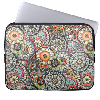 Colorful Cute Retro Chic Floral Circles Pattern Computer Sleeve
