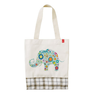 Colorful Cute Retro Floral Elephant Zazzle HEART Tote Bag