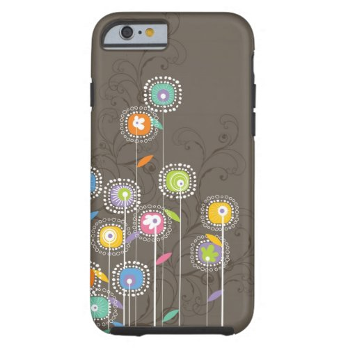 Colorful Cute Retro Flowers Brown Background Phone Case
