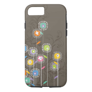 Colorful Cute Retro Flowers Brown Background iPhone 7 Case