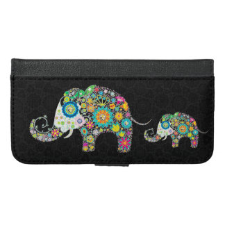 Colorful Cute Retro Flowers Elephants iPhone 6/6s Plus Wallet Case