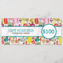 Colorful Cute Retro Flowers Gift Voucher