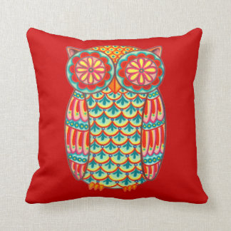 Colorful Cute Retro Owl Pillow