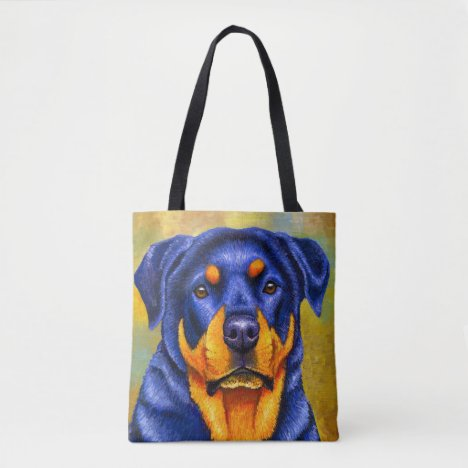 Colorful Cute Rottweiler Dog Tote Bag