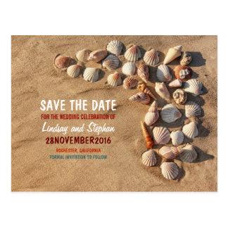 Colorful cute  seashells beach save the date postcard