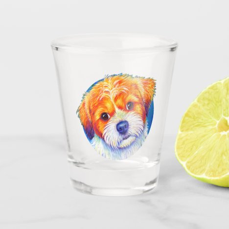 Colorful Cute Shih Tzu Dog Shot Glass