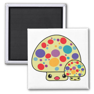 Colorful Cute Spotted Kawaii Mushroom Toadstools 2 Inch Square Magnet