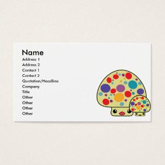 Colorful Cute Spotted Kawaii Mushroom Toadstools Business Card
