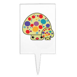 Colorful Cute Spotted Kawaii Mushroom Toadstools Cake Picks