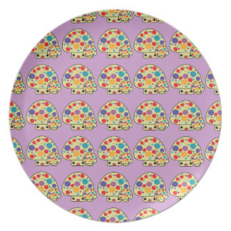 Colorful Cute Spotted Kawaii Mushroom Toadstools Plate