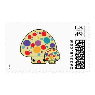 Colorful Cute Spotted Kawaii Mushroom Toadstools Postage