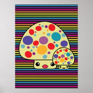 Colorful Cute Spotted Kawaii Mushroom Toadstools Print