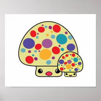 Colorful Cute Spotted Kawaii Mushroom Toadstools Posters