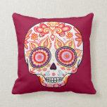 Colorful Cute Sugar Skull Pillow