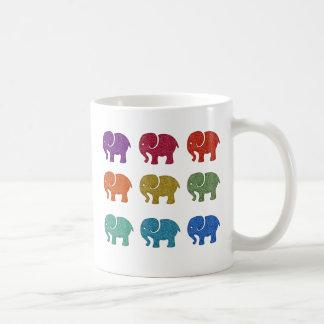 Colorful cute trendy girly elephants coffee mug