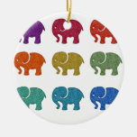 Colorful cute trendy girly elephants Double-Sided ceramic round christmas ornament
