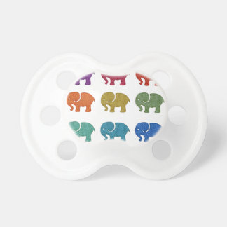 Colorful cute trendy girly elephants pacifier