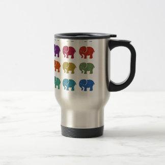 Colorful cute trendy girly elephants travel mug