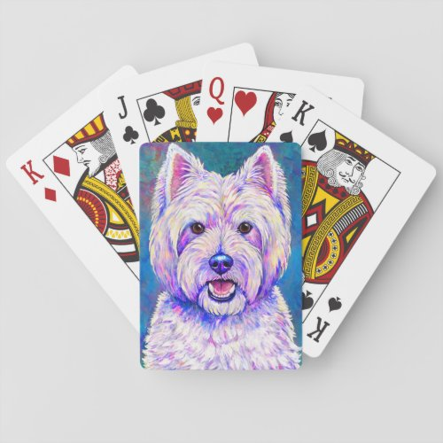 Colorful Cute Westie Dog Playing Cards