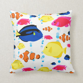 Colorful Cute Whimsical Tropical Fish and Bubbles Throw Pillow