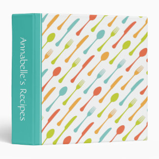 Colorful cutlery aqua spine personalized recipe 3 ring binders