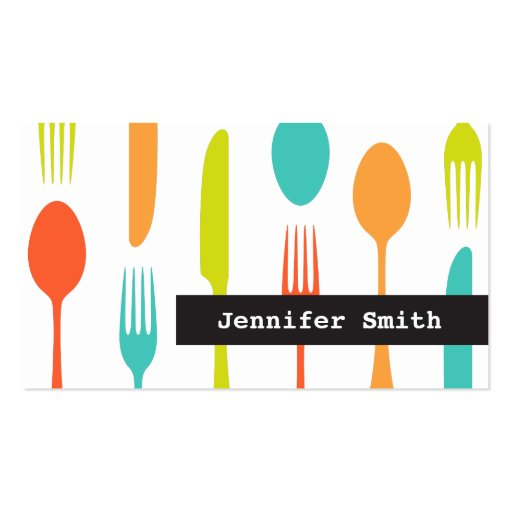 Colorful cutlery catering or chef business card