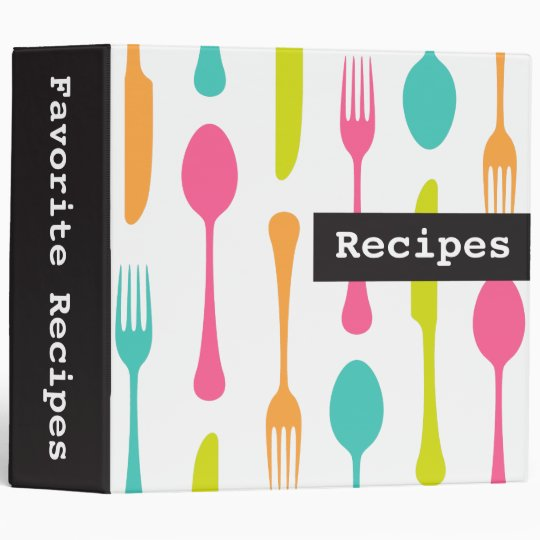 Colorful cutlery modern recipes binder / organizer