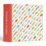 Colorful cutlery personalized recipe book binder