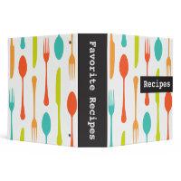Colorful cutlery retro recipes binder / organizer binder