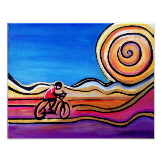 Colorful Cyclist - Acrylic Painting (14 x 11) Poster