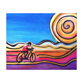 Colorful Cyclist - Acrylic Painting (20 x 16) Canvas Print