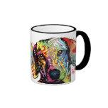 colorful Dachshund art Ringer Mug