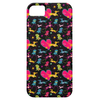 Colorful Dachshund Heart Print iPhone SE/5/5s Case