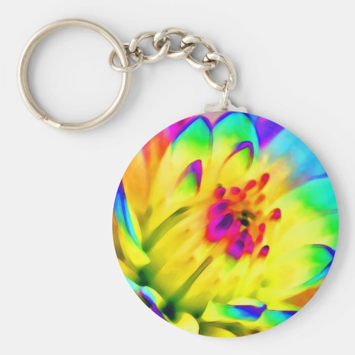 colorful dahlia basic round button keychain