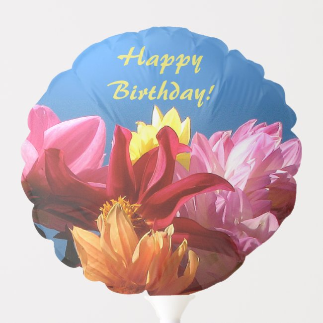 Colorful Dahlia Flowers Floral Birthday Balloon