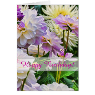 Colorful Dahlia Flowers Happy Birthday Card