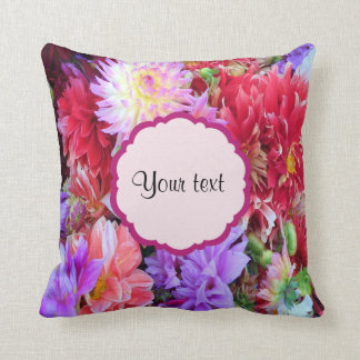 Colorful Dahlias Throw Pillow