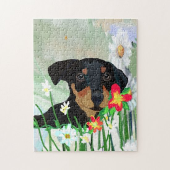 Colorful Daisies and Doberman Pincher Puppy Jigsaw Puzzle