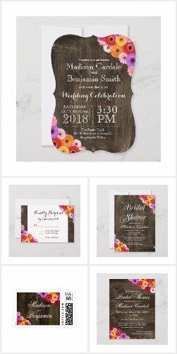 Colorful Daisies Barn Wood Wedding Invitation Set